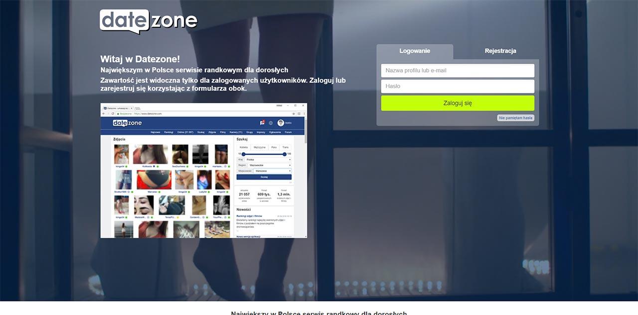 Strona startowa portalu randkowego Datezone